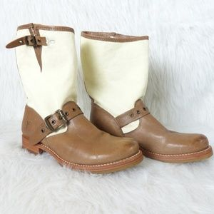 Frye Veronica Grommet Canvas & Leather Short Boot